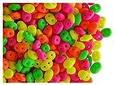 10gr, 2.5x5mm, Cuentas de vidrio prensado checas SuperDuo con dos agujeros, Alabaster / Mix of four warm neon matte colors