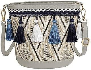 TOOGOO New Vintage Women Weaving Tassel Shoulder Bag Messenger Bag Crossbody Bags Girls Cute Handle Straw Bags Bucket Shape Tote Black
