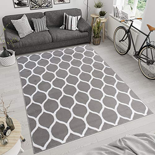 Tapiso Luxury Vloerkleed Woonkamer Slaapkamer Marokkaans Patroon Lichtgrijs Design Trendy Modern Sfeervol Duurzaam Hoogwaardig Tapijt Maat - 160 x 220 cm
