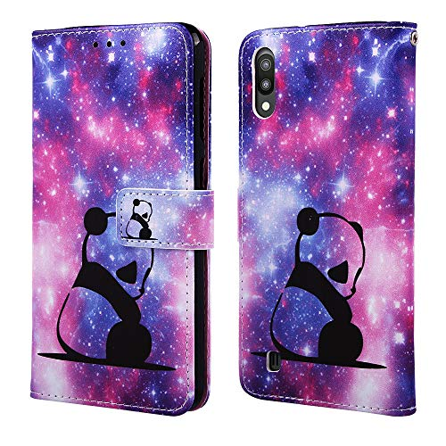 Nadoli Wallet Case for Galaxy M10,Colorful Starry Sky Panda Pattern Pu Leather Bookstyle Card Slots Magnetic Flip Cover With Hand Strap for Samsung Galaxy M10