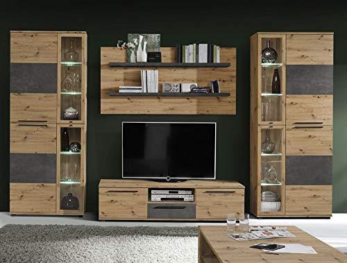 möbel-direkt Wohnwand Allister in Artisan Eiche und Betonoptik Dunkelgrau 4 teilig von Forte Anbauwand Wohnzimmer Mediawand TV- Wand