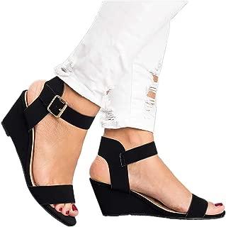 Women's Summer Ankle Strap Buckle Low Wedge Platform Heel Sandals Fashion Design Pump Shoes (US:7, Black)
