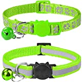 Taglory Reflective Cat Collar with Bell and Safety Release, 2-Pack Girl Boy Pet Kitten Collars Adjustable 19-32cm Green