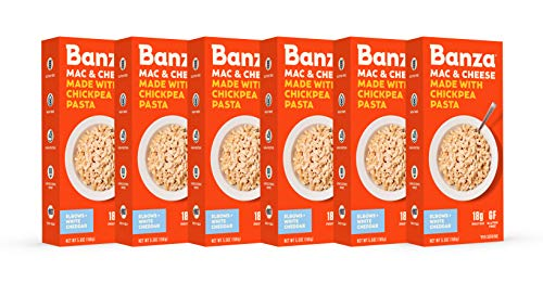 Banza Chickpea Pasta Mac & Cheese – High Protein Gluten Free Healthy Pasta – Mac & Cheese, Elbows with White Cheddar (Pack of 6)