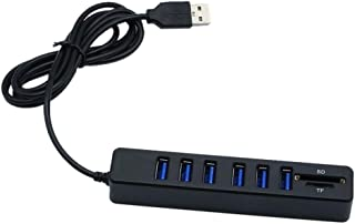 Cotchear Multi USB Hub USB 2.0 Splitter High Speed 6 Ports Hab TF SD Card Reader All in One for PC Computer Accessories (B...
