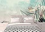 Oedim Fotomural Vinilo Adhesivo Flores y Hojas, Vinilo Adhesivo Decorativo para Habitaciones, decoración para Paredes, Vinilo Adhesivo