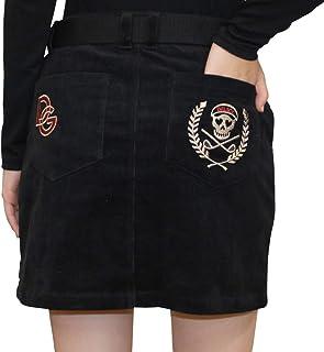 7576 BK 3L スカル刺繍コーデユロイスカート 2XL ブラック 大きいサイズ スカート デルソル ゴルフウェア レディース