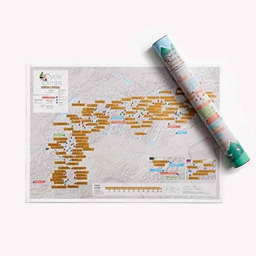 Alpiner Radsport zum Rubbeln - Maps International - Poster als Geschenke für Radfahre Enthusiasten - Alpen Gipfel - Geschenkröhre - A2-Format 59,4 (h) x 42 (b)