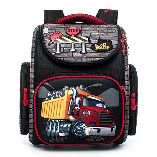 Folding School Backpack for Kids Waterproof Red Truck Printing Orthopedic Bookbag for Boys Elementary School