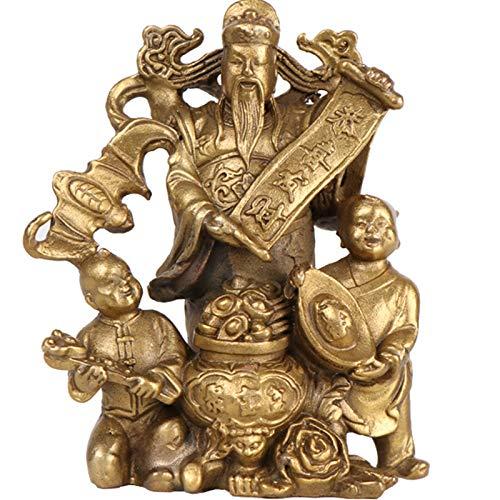 XDYFF Feng Shui Decoracion Estatuas Dios de la Riqueza Figura, CAI Shen Escultura Riqueza Y Prosperidad Adornos, Hogar Sala De Estar Decoración De Oficina,Latón
