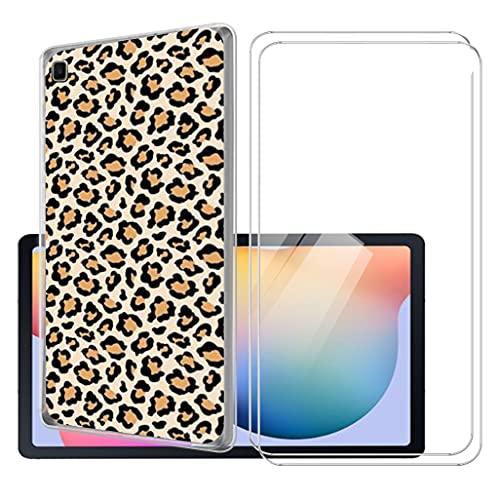 LKJMY para Samsung Galaxy Tab S6 Lite 10.4 Tableta Funda + 2 Piezas Cristal Templado,Transparente Carcasa Silicone Case Bumper,Anti-Golpes Cover Anti-Rasguño Cover Caso,Vidrio Templado-LKJB28