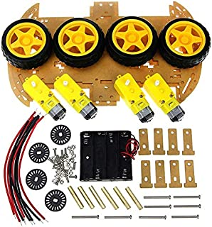 Sponsored Ad – Smart Car Kit with Speed Encoder 4WD Smart Robot Car Chassis Kits and Battery Box for arduino Diy Kit