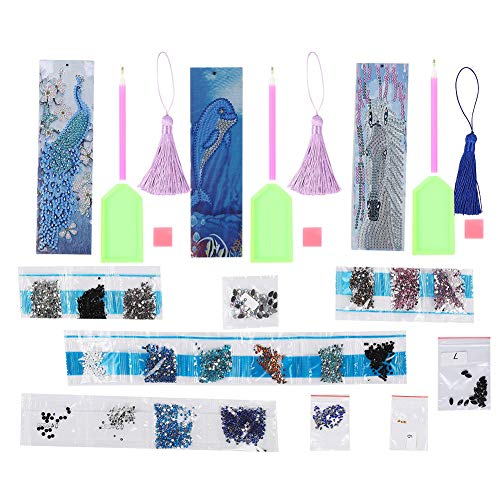 5D Diamond Painting Bookmarks, Leather Tassel Bookmark with Diamond Painting Tool Mosaic Gift for Kids Adults Beginner Back to School