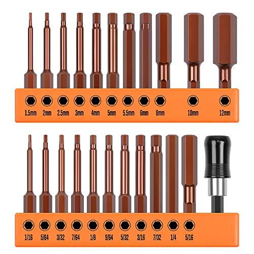 """HORUSDY 23-Piece Hex Head Allen Wrench Drill Bit Set, S2 Steel, Metric & SAE Hex Bit Set, 2.3"""" Long"""