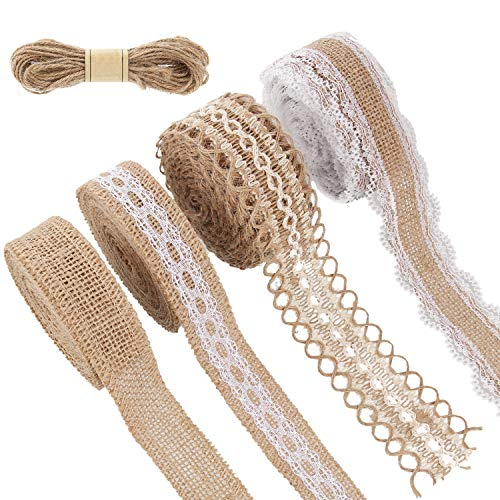 4 Rolls Burlap Ribbon Lace Roll Crafts Ribbon with 32 Feet Twine Rope for Wedding Decorations Party Decor DIY Handmade Crafts, 5.5 Yards for Each Roll