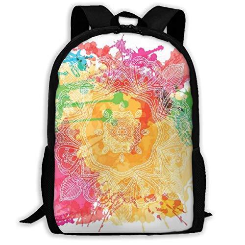 KDRW Rucksack Freizeitrucksack Reisetasche Computertasche Schultasche Adult Travelc Laptop Backpack,Abstract Drawing Of A Bengal Tiger Under Leaves On Lively Colored Background Predator,College School