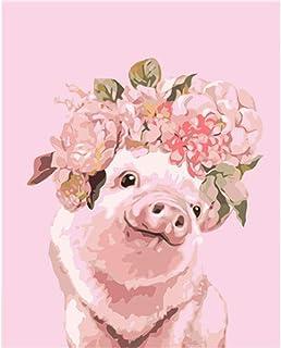 Ohne Rahmen ADWEDDF Malen nach Zahlen Schwein mit Brille f/ür Kinder Erwachsene Anf/änger DIY /Ölfarbe nach Anzahl Kit mit Pinsel und Acrylfarbe Home Wandkunst Dector Geschenk 16*20 Inch