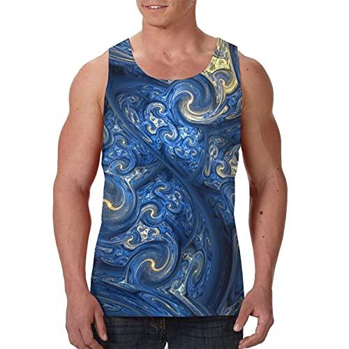 Camiseta sin mangas para hombre con diseño gráfico sin mangas, camisetas - azul abstracto marroquí azulejo dorado, Negro, S