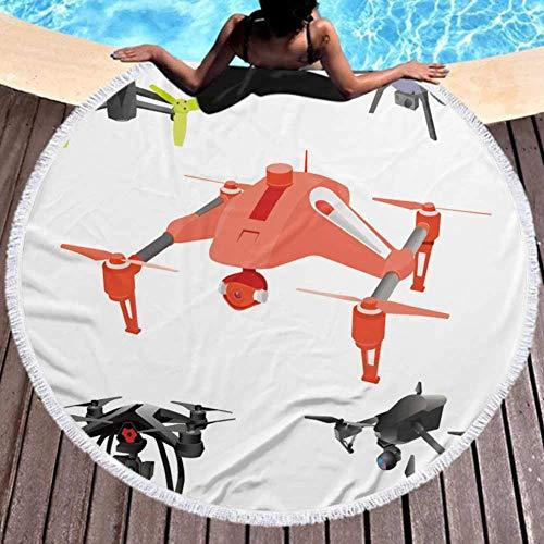 W-wishes Große Mikrofaser Handtuch Cartoon Drohnen. Isometrisch. Perfekt für den Strand 59 Zoll Durchmesser