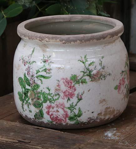 Chic Antique Übertopf Rosen Keramik D12 cm H9,5 cm