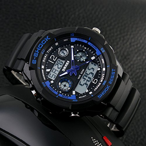 TONSHEN Mens Sport Digital Watch LED Electronic 164FT 50M Water Resistant Multifunction Dual Time Stopwatch Calendar Month Date Day Waterproof 12H/24H Time Military Wristwatch - Blue