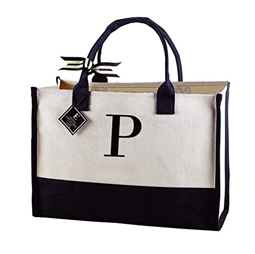 Mud Pie Initial Canvas Tote Bags (P)
