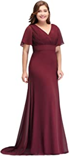 68bbc8d7e6 MisShow Women's Evening Dress, Long, Plus Size, Pleated With Chiffon,  Elegant For Wedding / Prom Dress