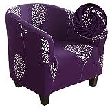 papasgix Funda de Sillón Chesterfield Elástica,1 Pieza Funda de Sofá Individual Lavable, para el Baño de Hotel,Mostrador,Bar,Sala de Estar,Recepción Cuatro Estaciones,Purple Flower Purple