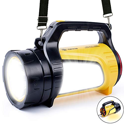 Vekkia Rechargeable LED Spotlight Lantern Flashlights, High Battery Capacity 5200mAh Power Bank,600LM Multi Function Camping Lantern for Home,Emergency Hurricane,Walking Dog and More,USB Cable Include
