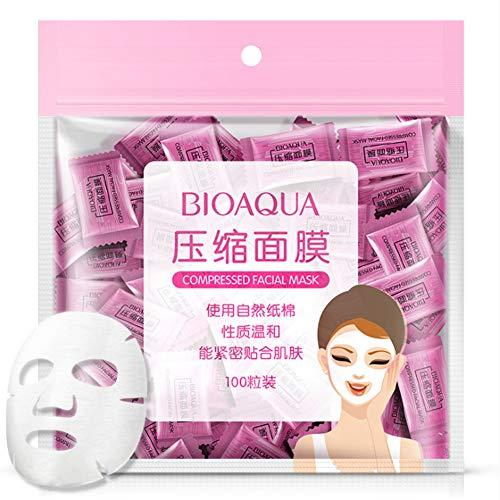 Komprimierte Gesichtsmaske, 100 Stück/Pack Gesichtsmaske, natürliche Hautpflege Maske zum Basteln aus Seide, komprimiert, 100 Stück