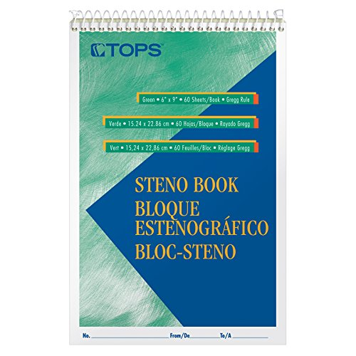 "Tops Steno Books, 6"" x 9"", Gregg Rule, Green Tint Paper, 80 Sheets, 12 Pack (8021)"
