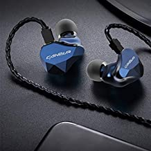 Canpur IEM in Ear Monitor Earphones for Musician, Wired 1DD in-Ear Dynamic Headphones IEM HiFi Earphone with 0.8mm 2 Pin 3.5mm L-Plug Cable, in Ear Monitor Headphones for Singer/Audiophile(Deep Blue)