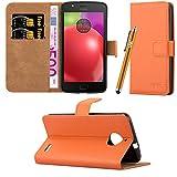 Motorola Moto E4 Case, Leather Wallet Book Case Cover Pouch