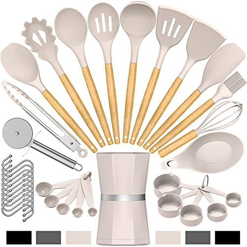 Silicone Cooking Kitchen Utensil Set, Umite Chef 34pcs Heat Resistant Kitchen Utensils with Holder, Khaki Kitchen Spatula Set with Wooden Handle, Kitchen Gadget Tools for Nonstick Cookware(BPA Free)