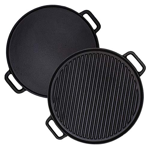 Cast Iron Reversible Griddle Plate, Double-Sided Grill Pan with Handles (30 cm)
