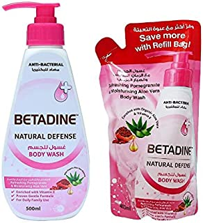 Betadine Body Wash Pomegranate 500 ml & 400 ml Refill Bag