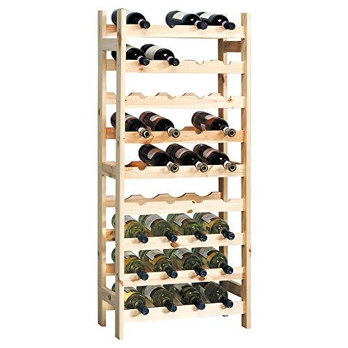 KESPER 9 Compartiment Système d'attaches pour Bouteille de vin, 51 x 27 x 120 cm, Bois, Beige, Taille Unique