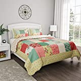 Bedford Home 3-Piece Quilt Set – Hypoallergenic Polyester Microfiber Sweet Dreams Patchwork Pastel Floral Print All-Season Blanket with Shams by BH (Full/Queen)