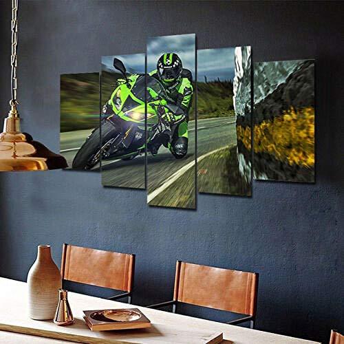 WJWORLD racefiets Superbike Moto GP 5 stuks canvas Home Decor muurkunst 20x35cmx2,20x45cmx2,20x55cmx1 Frame