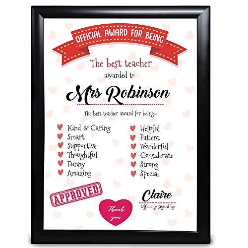 Personalised Teacher Gift, Official Award For Being The Best Teacher, Thank You From Children And Students, End Of Year Term, From Nursery School Customised With Name Gift For Women