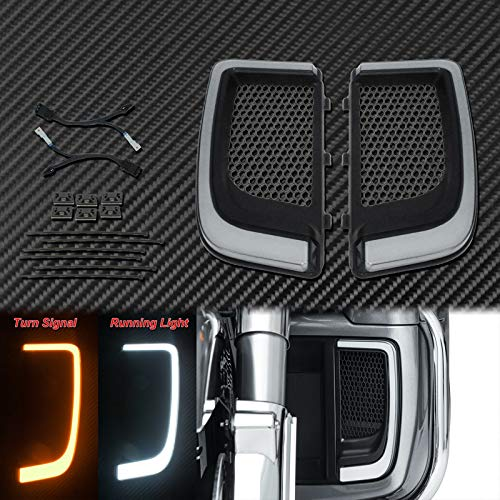 Motocicleta Accesorios Motocicleta Negro LED carenado Parrillas Inferiores Ajuste Ligero para Harley...
