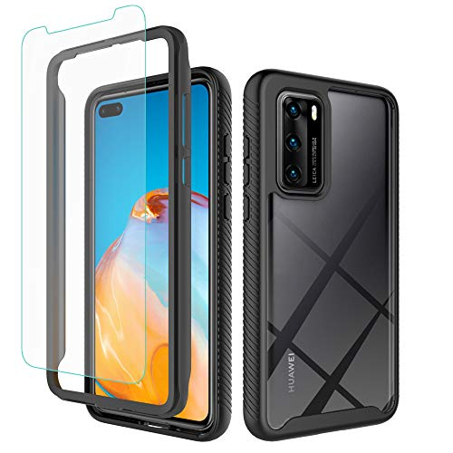 iRunzo Cases for Huawei P40 Hybrid Rugged Armor Cover 2 in 1 Soft TPU + PC Bumper 360° Full Body Protect Shockproof + Tempered Glass Screen Protector (Black)