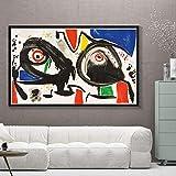 zsBig6 Joan Miro Arte del surrealismo Moderno Pinturas en Lienzo Cuadro Abstracto Cartel de Arte Retro e Impresiones Habitación de Pared Decoración del hogar 70x105cm / Sin Marco
