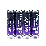 18650 Batterie Ricaricabili Batteria agli Ioni di Litio da 3.7v 6000mah, Pulsante Ad Alta capacità Superiore Batterie di Ricambio per Torcia a LED ICR 18650 4pieces