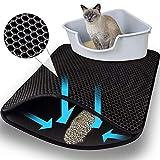 Ducomi Tapis de litière pour chat, autonettoyant, en double couche avec caoutchouc antidérapant - Capture les grains de litière du bac à litière pour un sol propre