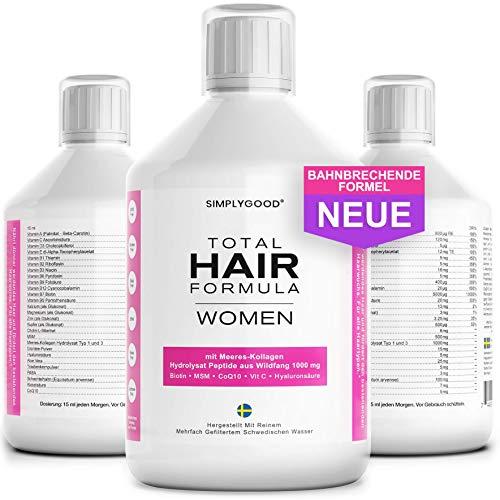 TOTAL HAIR SOLUTION - Haar Vitamine für Haarausfall und Haarwachstum - 38 Klinisch Erprobte Inhaltsstoffe für Dickeres Gesünderes Haar mit Biotin, Kollagen, Hyaluronsäure, Schachtelhalm, MSM und Mehr