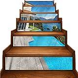 JiuYIBB - Pegatinas autoadhesivas para escaleras, diseño de paisaje de terraza