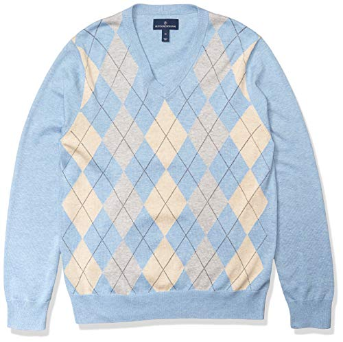 Amazon Brand - Buttoned Down Men's 100% Supima Cotton V-Neck Sweater, Light Blue Argyle, X-Small