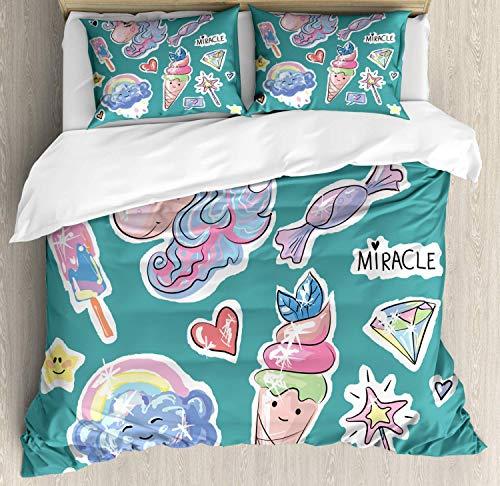 Juego de Fundas nórdicas Fantasy, Fairy Unicorn Ice Cream Hearts Popsicles Rainbow Clouds Candy Magic, Juego de Cama Decorativo de 3 Piezas con 2 Fundas de Almohada, Cadet Blue y Multicolor