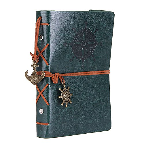 Leather Writing Journal Notebook, EvZ 7 Inches Vintage Nautical Spiral Blank String Diary Notepad Sketchbook Travel to Write in, Unlined Paper, Retro Pendants, Classic Embossed, Retro Green